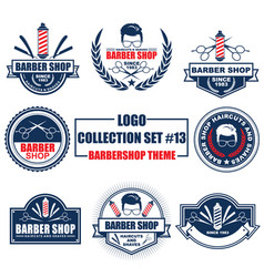 logo collection set with barbershop theme vector image