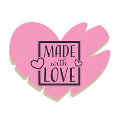 Made with love handmade gifts shop isolated heart vector