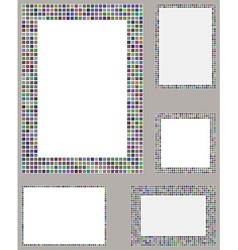 Multicolored pixel mosaic page layout border set vector