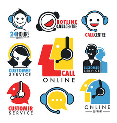 Online support or custom service isolated icons vector