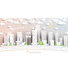 Panama city skyline in paper cut style vector