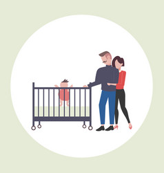 Parents and their newborn baby in crib having fun vector