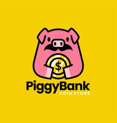 piggy bank pig coin money dollar moustache logo vector image