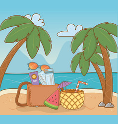 pineapple cocktail and set items beach scene vector image