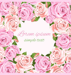 pink and beige roses wedding invitations copy vector image