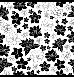 Plumeria and magnolia-flowers in bloom seamless vector