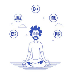 Programmer in glasses sitting in meditation vector