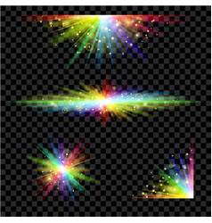 rainbow glowing light set vector image