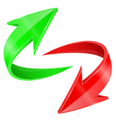Red and green arrows in circular motion vector