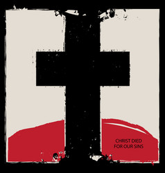 Religious banner with black cross and red mountain vector