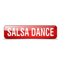 Salsa dance red square 3d realistic isolated web vector