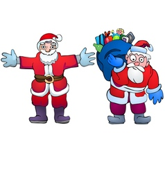 Santa Claus with gifts and hugging Santa vector