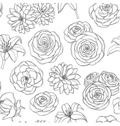 Seamless pattern with lily chrysanthemum rose vector