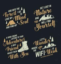 set adventures inspirational quote badges vector image