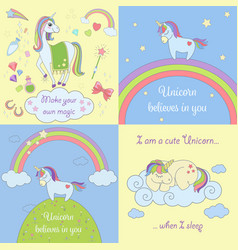 set beautiful unicorns vector image