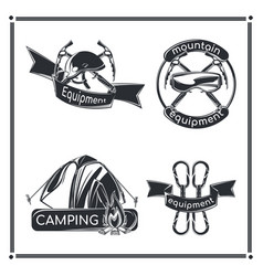 Set camping emblems vector