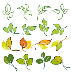 Set of logos of multi colored leaves vector
