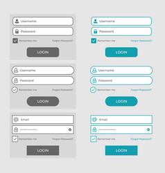 set of member login page design elements vector image