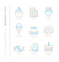 Set of sweet food icons and concepts in mono thin vector
