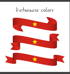 Set of three modern colored vietnamese ribbon vector