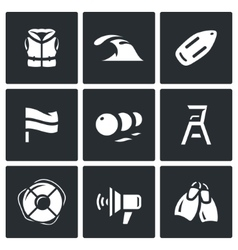 set rescue on water icons life jacket vector image