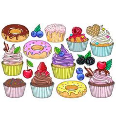 set sweet desserts cakes vector image