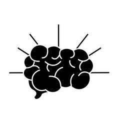 Silhouette mental health smart brain line icon vector