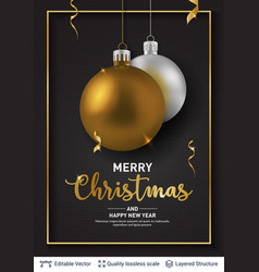 silver golden christmas balls on dark background vector image