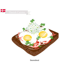 Smorrebrod with fried egg the national dish of de vector