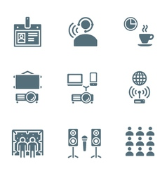 solid grey color conference concept icons vector image