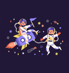 spaceman children in space suits traveling vector image
