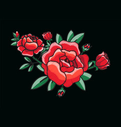 Stylized red roses bush on vector