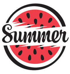 summer banner with a funny watermelon vector image