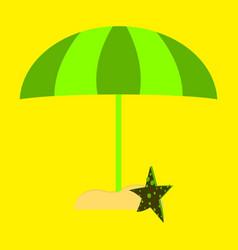 Summer card design with parasol bag starfish vector