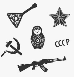 Symbols set russia stereotypes vector