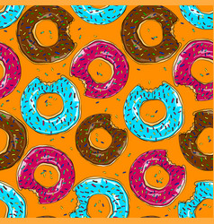 Tasty bake donut seamless food background vector