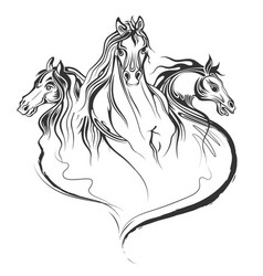 Tattoo art design of horse racing in line art vector