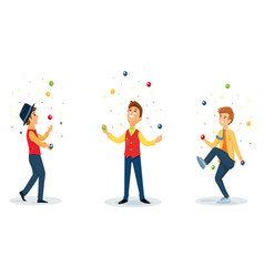 three cartoon jugglers performs a circus trick vector image