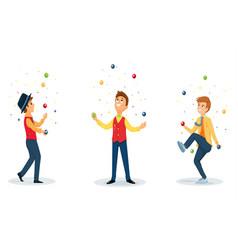 Three cartoon jugglers performs a circus trick vector