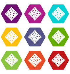 Tofu fresh block icon set color hexahedron vector