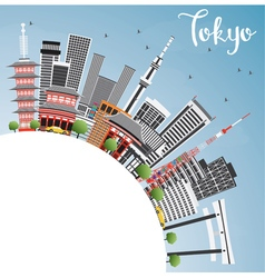 Tokyo Skyline with Gray Buildings vector image