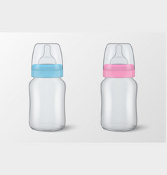 Two realistic empty blank baby bottles with vector