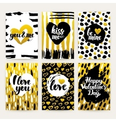 Valentines Day Gold Trendy Brochures vector