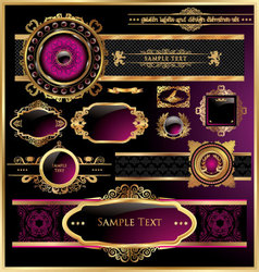 vintage black gold and pink frame label vector image