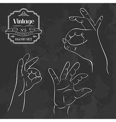 Vintage chalkboard OK hand gesture vector