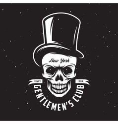 Vintage gentleman club emblem with skull in tall vector