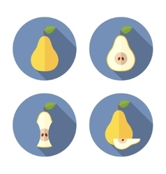 whole and cut pears flat icon vector image