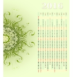 Year 2016 vertical calendar design vector image