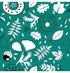 Beautiful autumn leaves flowers and twigs pattern vector
