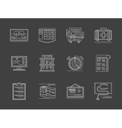 Cardiology center white flat line icons vector image vector image
